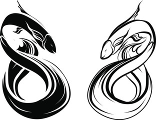 Hand drawn and Silhouette beautiful siamese fighting fish.Thai beautiful fish tatoo.Infinity asian fish.