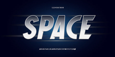 Space vector font silver style modern typography