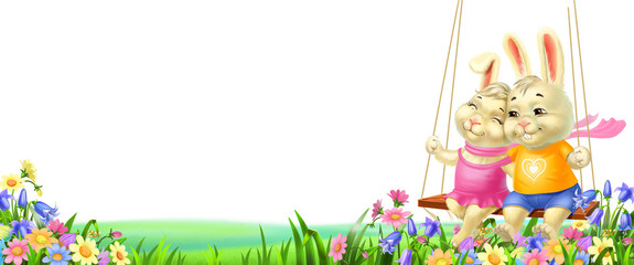 two loving rabbits on a swing, isolated on white