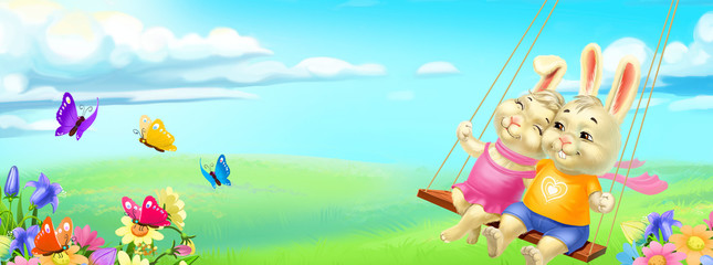 two lovers rabbits on a swing on a field and the sky