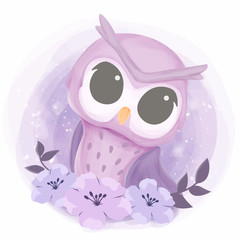 Baby Pretty Owl With Flowers