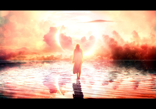Artistic illustration of a female jesus walking on water towards paradise