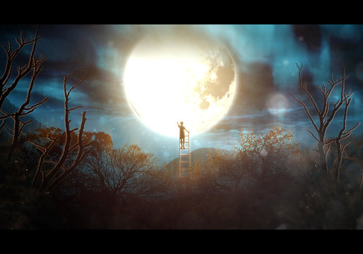Artistic illustration of a boy on a ladder reaching the moon