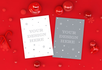 Vertical Christmas Cards on Red Background Mockup