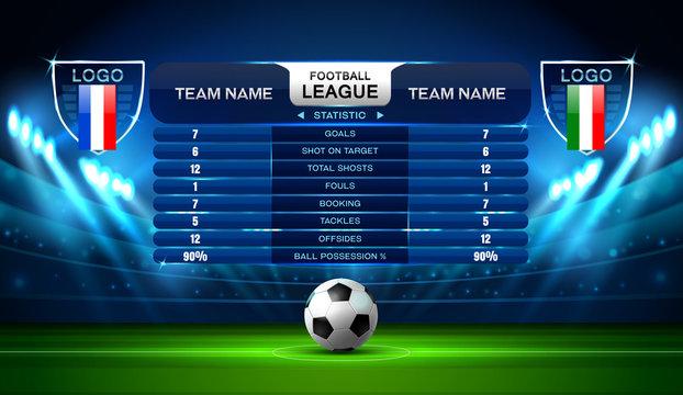 soccer football stadium spotlight and scoreboard