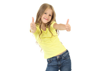 Beautiful little girl showing thumb up on white background