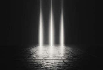 Empty background scene. Dark reflection of the street on wet asphalt. Rays of neon light in the dark, smoke. Background of an empty stage show. Abstract dark background. Fotomurales