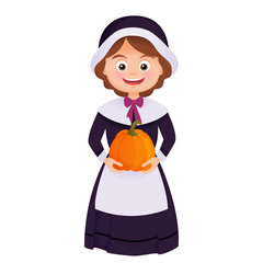 Pilgrim woman thanksgiving costume cartoon vector isolated on white