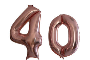 Pink gold Helium Balloon in the shape of the number 40 isolated on white. Suitable for forty years celebration or anniversary , 40 billboard or 40 percent discount.