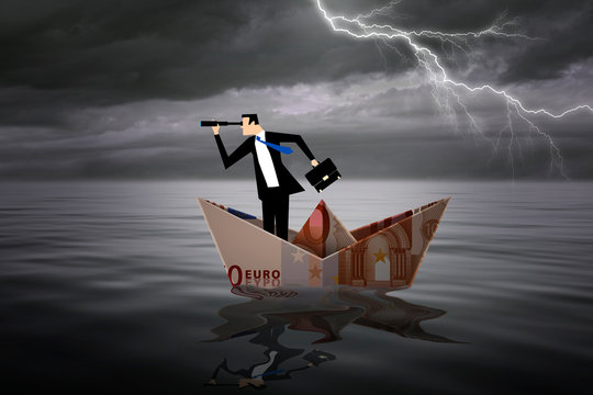 Man inside a boat made with a euro bill