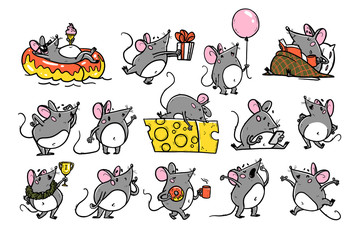 Vector illustration of cute hand drawn grey mouse character in different situations: hold cheese, jump, give present, read, win, swim, yawn. 2020 year mascot. For sticker, nursery, print, banner, logo
