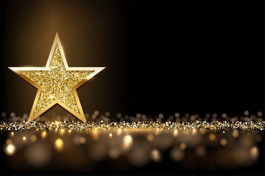 Golden sparkling star isolated on dark luxury horizontal background. Vector design element.