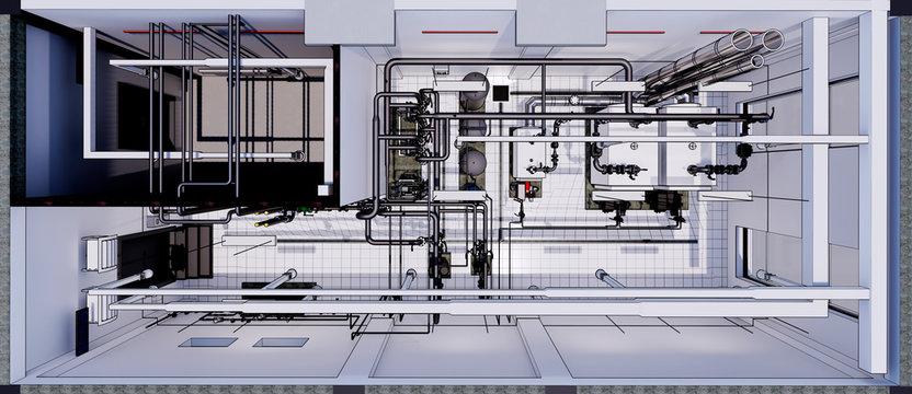3D BIM model of a boiler room with utilities. Top view