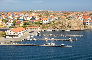Small coastal village in Scandinavia at summer, Kungshamn - Sweden