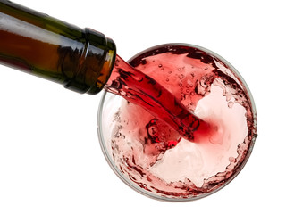 Red wine pouring, top view