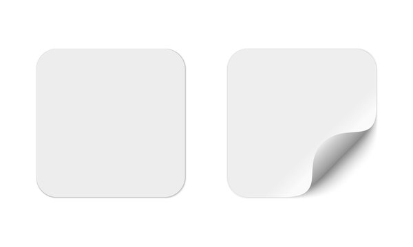 Blank square adhesive stickers mock up with curved corner. Mockup empty rectangular sticky label.