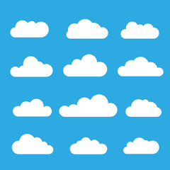 White clouds on a blue background - stock vector.