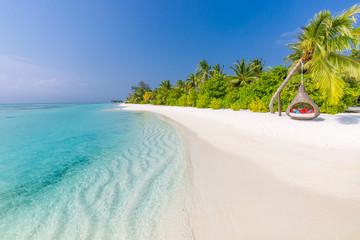 Fototapete - Landscape of tropical beach. Paradise island coastline, palm trees calm sea water. Peaceful exotic nature