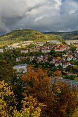 Spoed Foto op Canvas Groen blauw Herbstlicher Tag im farbenfrohen Thüringer Wald - Suhl/Deutschland