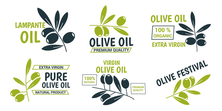 Flat olive oil labels collection