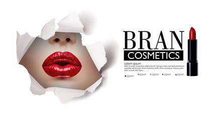 Red lips look through the hole in the white paper.Beautiful model girl.beauty product illustration.