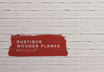 Painted Rustic Wooden Planks Mockup