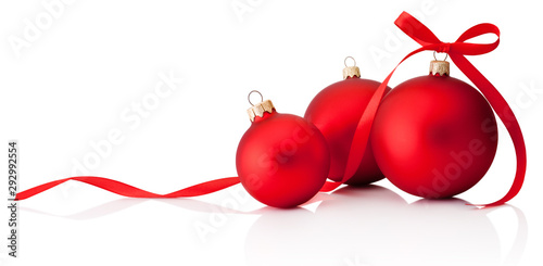 Three Red Christmas Decoration Baubles With Ribbon Bow