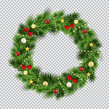 Christmas wreath on transparent background. Vector Illustration