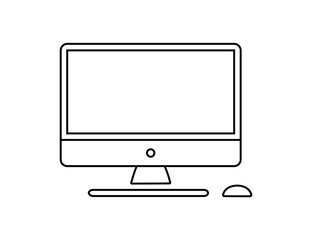 Computer monitor keyboard and mouse icon vector illustration. Computer line in cartoon style. Screen computer monitor keyboard and mouse. Vector linear icon set.