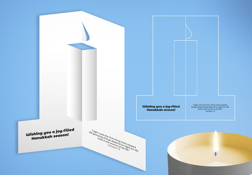 Hannukah Card Layout with Cut-Out Candle Element
