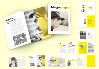Magazine Layout with Yellow Overlay Elements and Text