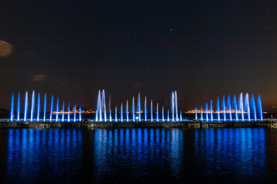 Laser show and water show on the beach of istanbul
