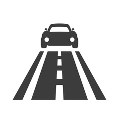 Car on the road icon on white background.