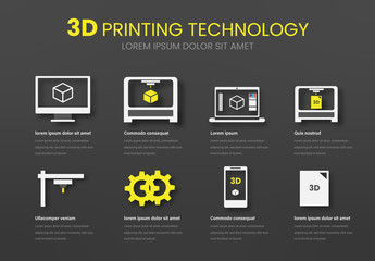 3D Printing Technology Info Chart Layout with Icons