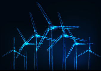 Futuristic glowing low polygonal windmill farm on dark blue background.