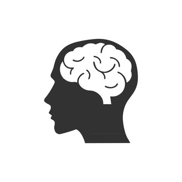 Head with brain icon logo