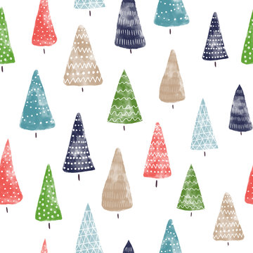Seamless background watercolor Christmas trees hand drawn. Decorative hand painted holiday pattern. Winter holiday design for fabric, gift wrap, card decoration, wallpaper, digital scrapbooking