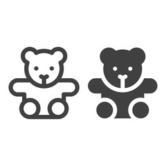 Teddy bear line icon isolated on white