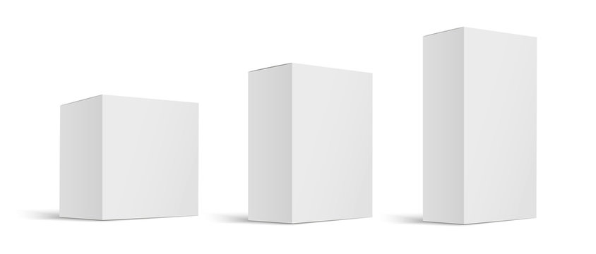 Mock up white cardboard box. Set of cosmetic or medical packaging. Set of Blank white product packagings boxes isolated on white background. Vector illustration