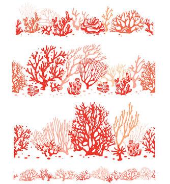 Set of Corals border seamless patterns