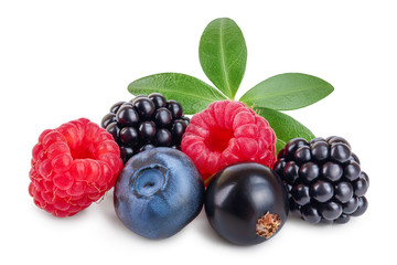mix of blackberry blueberry raspberry black currant with leaf isolated on white background.