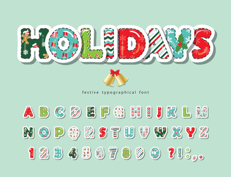 Christmas cut out decorative font. Scrapbook paper with stitching. All patterns are full under clipping mask. For posters, banners, greeting cards. Vector