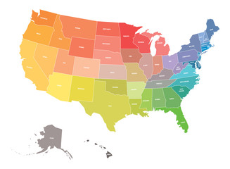 Map of USA, United States of America, in colors of rainbow spectrum. With state names