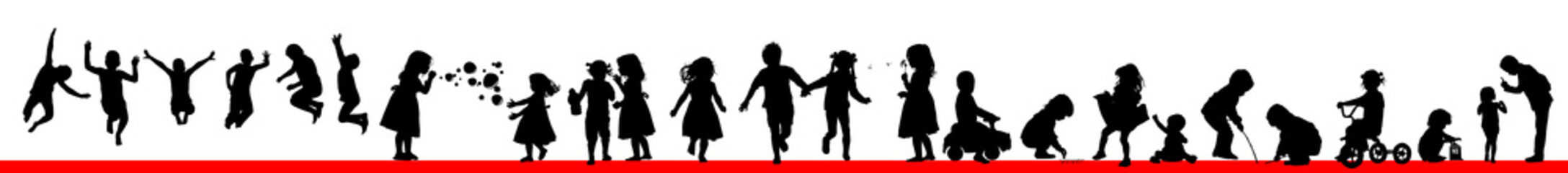 A set of silhouettes of children. Happy childhood. Vector illustration Wall mural