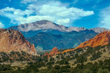 Beautiful Colorful Pikes Peak Mountain range and Garden of the Gods Rock Garden landscape