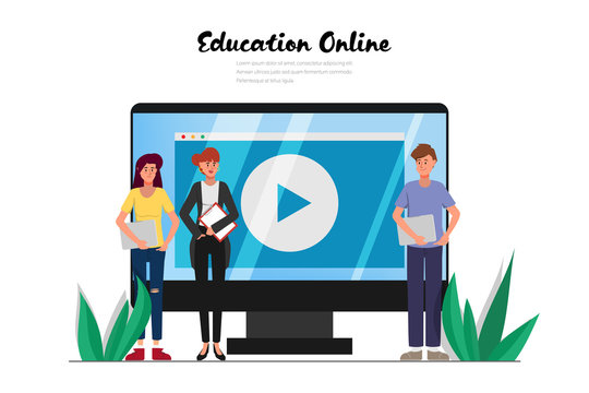 Online education on website concept background.