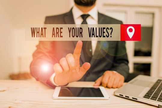 Handwriting text writing What Are Your Values Question. Conceptual photo asking someone about his good qualities