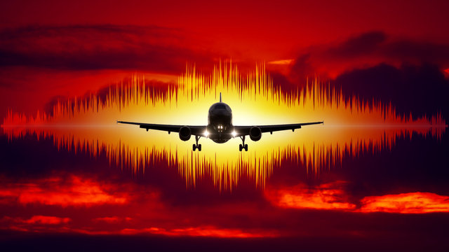 aircraft noise symbol red sky