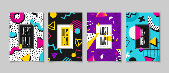 Set cards in the style of the 80s with multicolored geometric shapes. Illustration for hipsters Memphis style