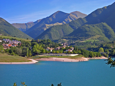 Italy, Marche, Fiastra artificial lake.